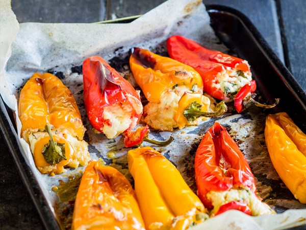 Ricotta and chilli-filled sweet peppers