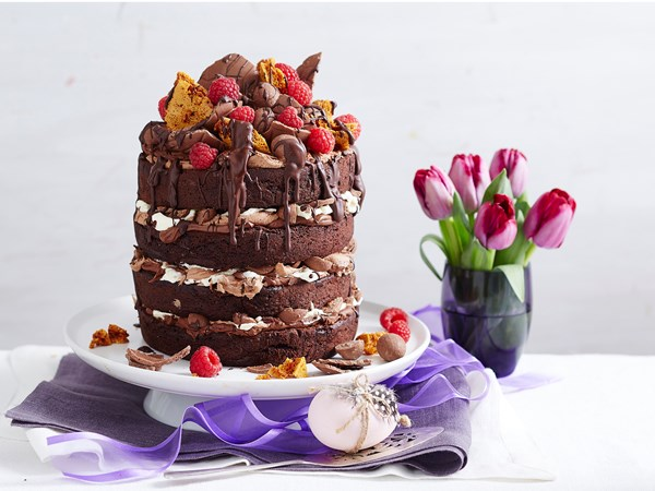 Honeycomb choc layer Easter cake