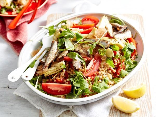 Grilled sardine salad