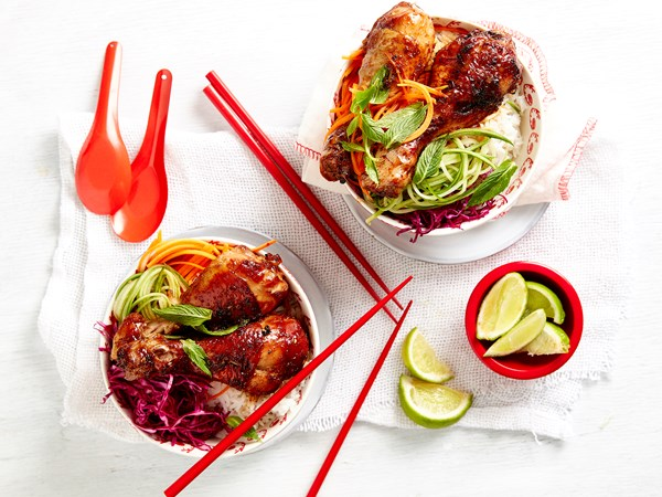 Sticky Thai chicken with rice and pickles