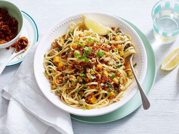 Pumpkin and mince linguine