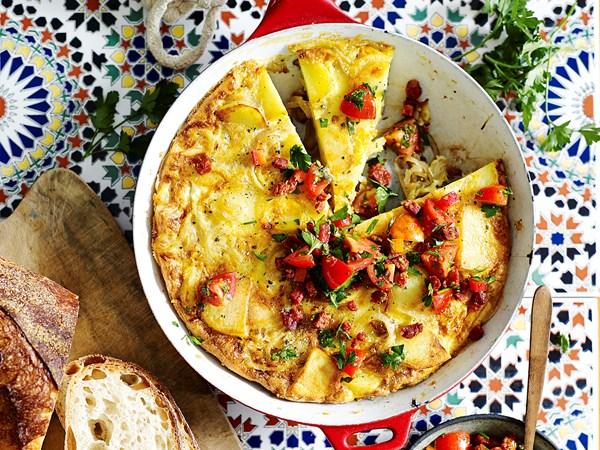 Spanish tortilla with chorizo salsa