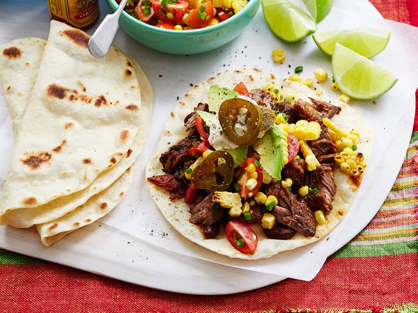 Homemade tortillas with beef and salsa