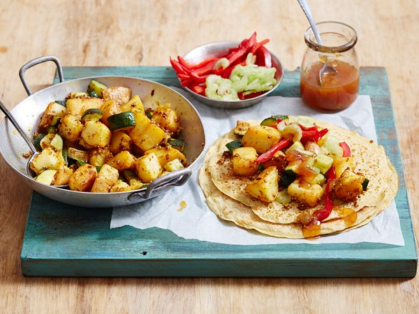 Chickpea crepes with spiced potato