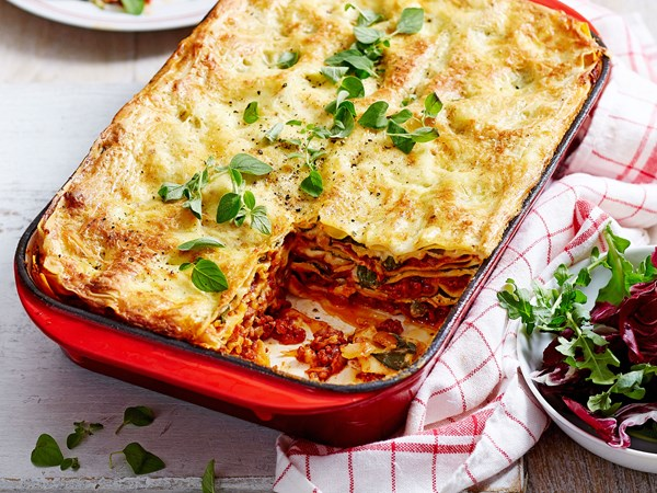 Beef mince, spinach and ricotta lasagne