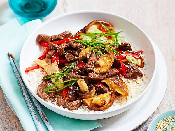 Beef stir-fry with mixed mushrooms and sesame seeds
