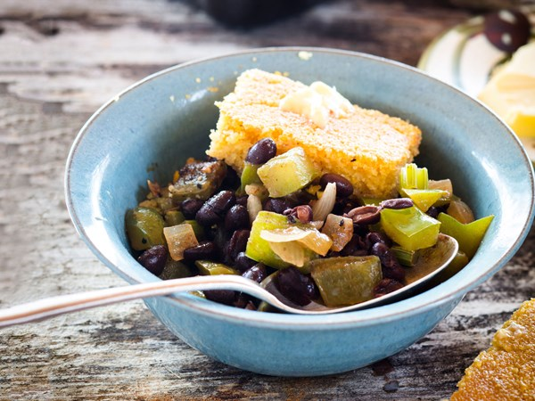 Southern beans with gluten-free buttery cornbread