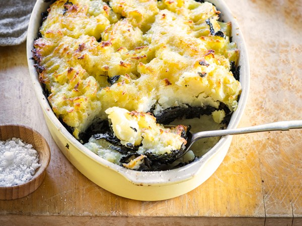 Easy vegetarian potato and silverbeet bake