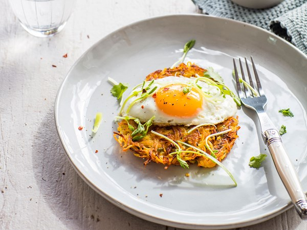 Spicy Thai parsnip and potato latkes with fried eggs