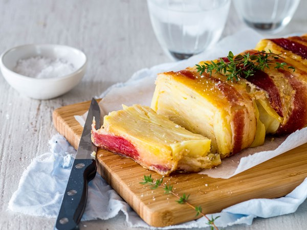 Bacon-wrapped parsnip and potato loaf