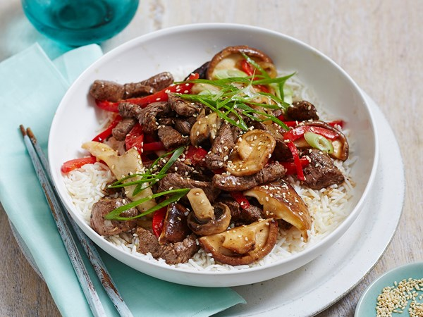 Beef with mixed mushrooms and sesame