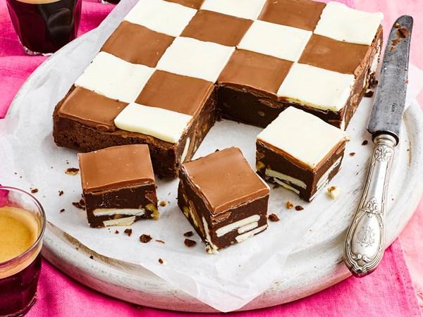 Triple chocolate checkerboard brownie