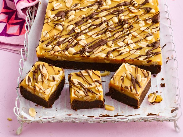Peanut caramel-topped dark chocolate brownie