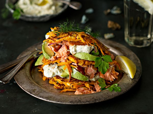Kumara fritters with hot-smoked salmon, avocado and herby crème fraîche