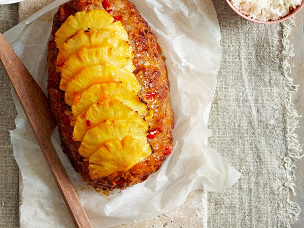Sweet and sour pork meatloaf with pineapple topping
