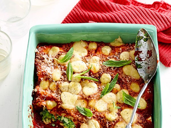 Spinach and broad bean vegetarian cannelloni