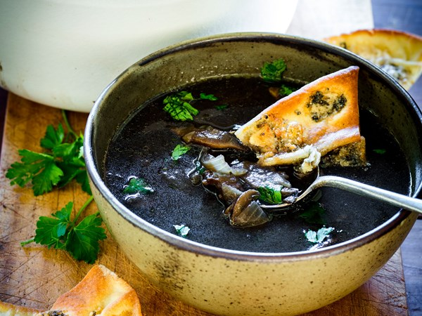 Mushroom soup with blue cheese toasts