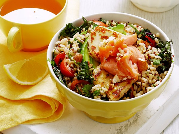 Hot smoked salmon and haloumi brekky bowl