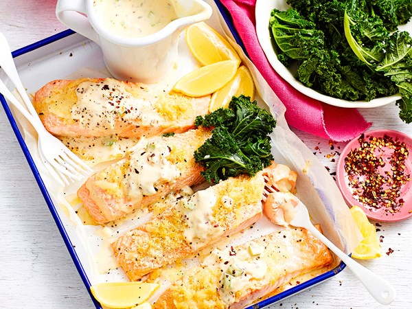 Individual salmon mornay with fennel chilli white sauce