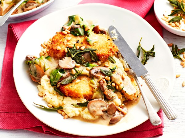 Herby pork schnitzel with mushroom, sage and wine sauce