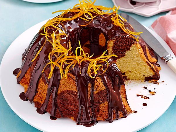 Choc-orange marble cake with dark chocolate ganache