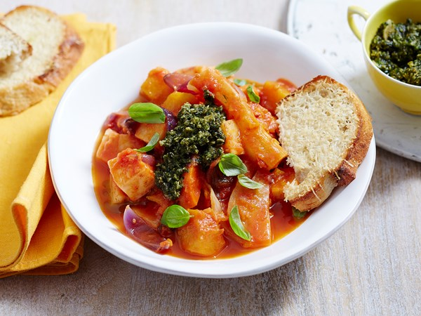 Winter vegetable casserole with chunky pesto