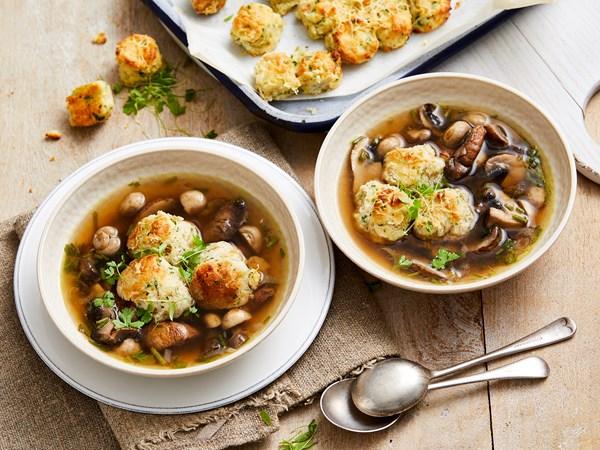 Mushroom broth with cheese dumplings