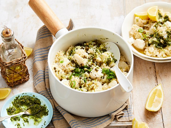 White fish risotto with gremolata