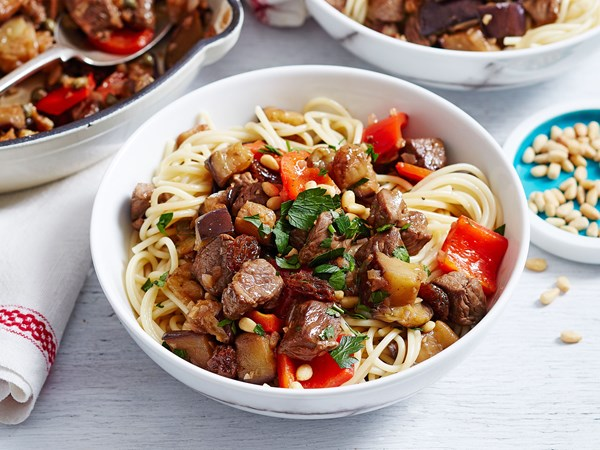 Lamb agridolce (Italian sweet and sour lamb) with pasta