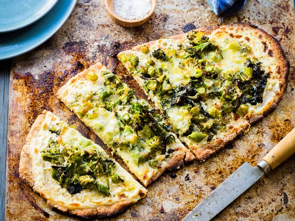 Broccoli and three-cheese gluten-free pizza