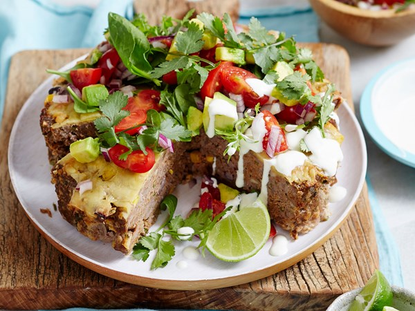 Mexican beef mince meatloaf pie with tomato salsa