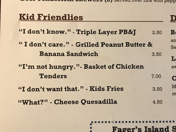 The hilarious kids' menu that will make dining out with fussy eaters a breeze