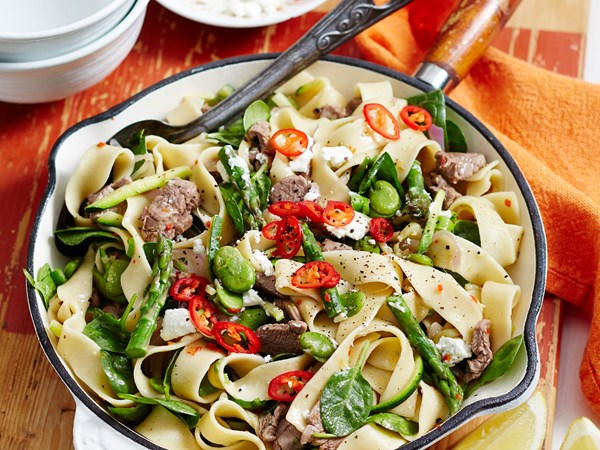 Lamb and courgette pappardelle pasta