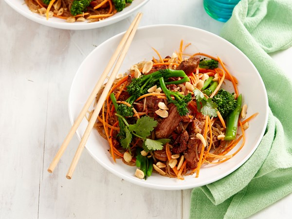 Char siu pork salad with noodles and broccolini