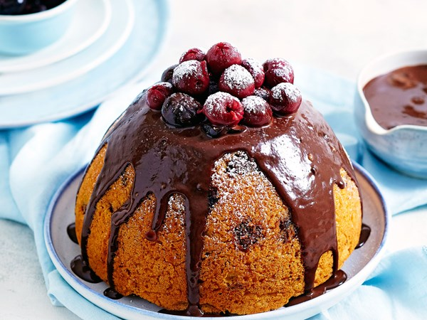 Black forest steamed pudding with chocolate sauce