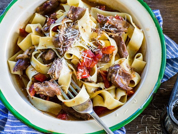 Slow-cooked lamb shank ragu and pappardelle pasta