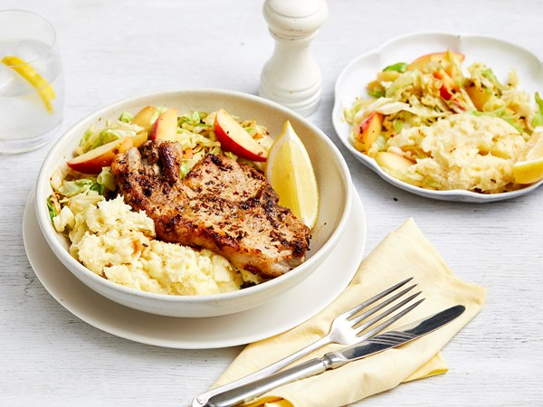 Pork chops with parsnip mash