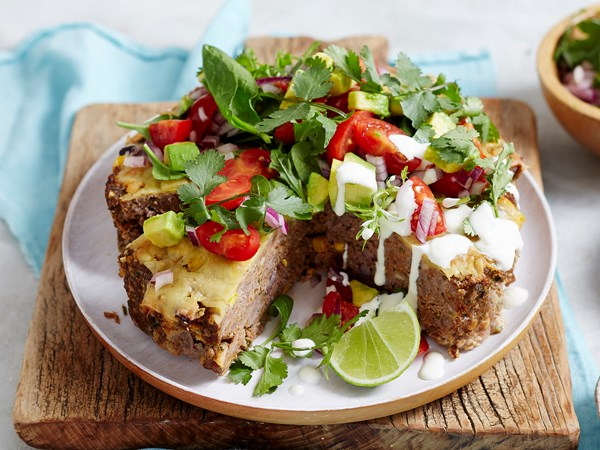 Mexican meatloaf pie with salsa and cheese
