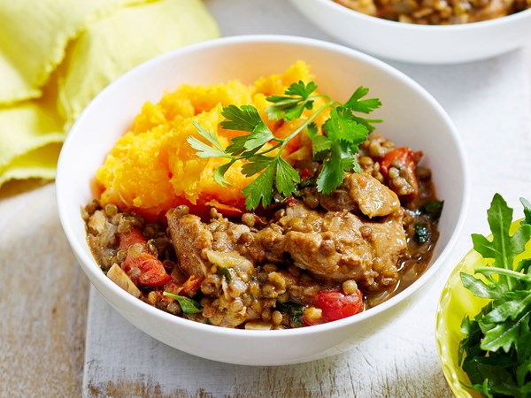 One-pot chicken and lentil casserole with pumpkin mash