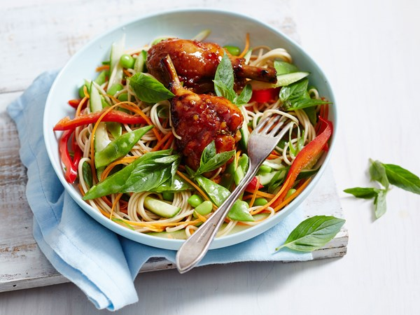 Soba noodle salad with chilli jam chicken
