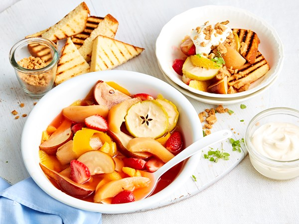 Poached winter fruit with chargrilled madeira