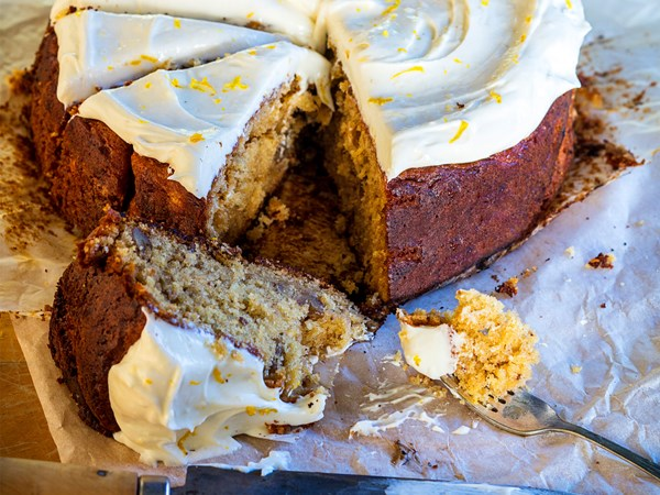 Parsnip golden syrup cake with lemon cream cheese icing