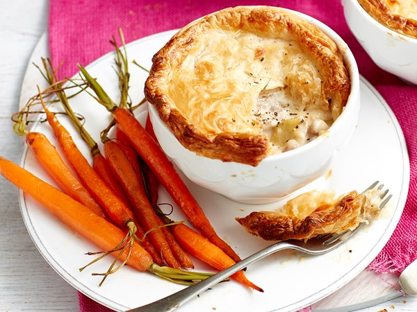 Creamy chicken and vegetable pot pies