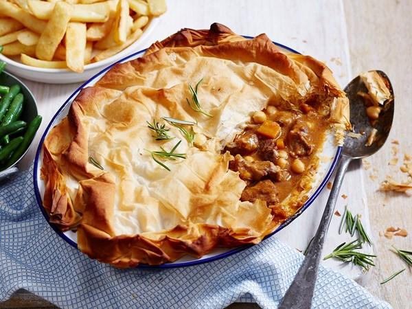 Hearty lamb and rosemary pie
