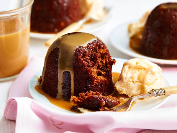 Caramel and walnut date puddings with butterscotch sauce