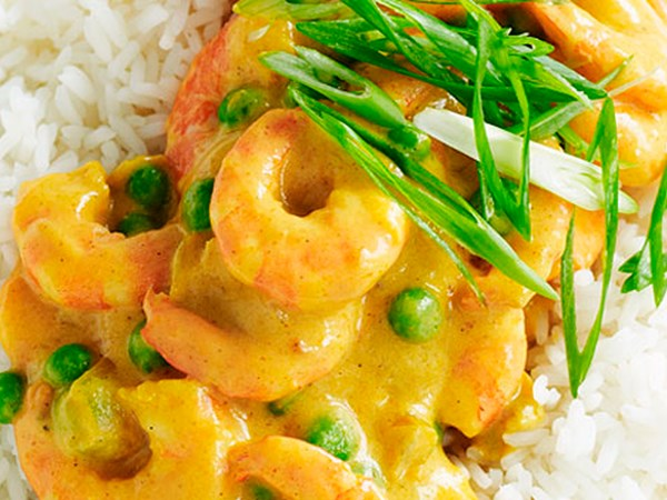 Curried prawns