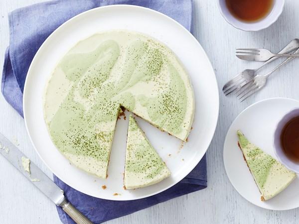 White chocolate and matcha cheesecake