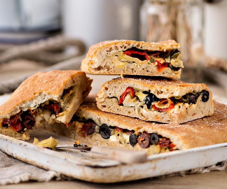 Stuffed Focaccia Bread With Spinach Olives And Feta Food To Love
