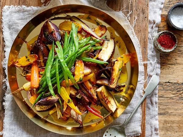 Roast vegetables with warm lemony saffron butter