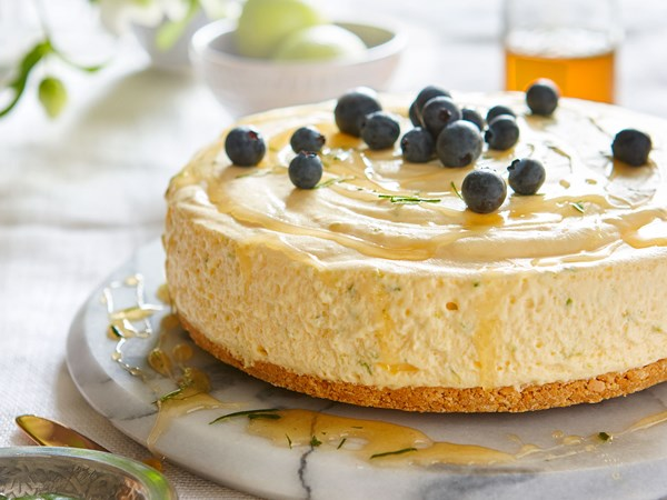 Lime chiffon mousse cake with honey and lime leaf syrup